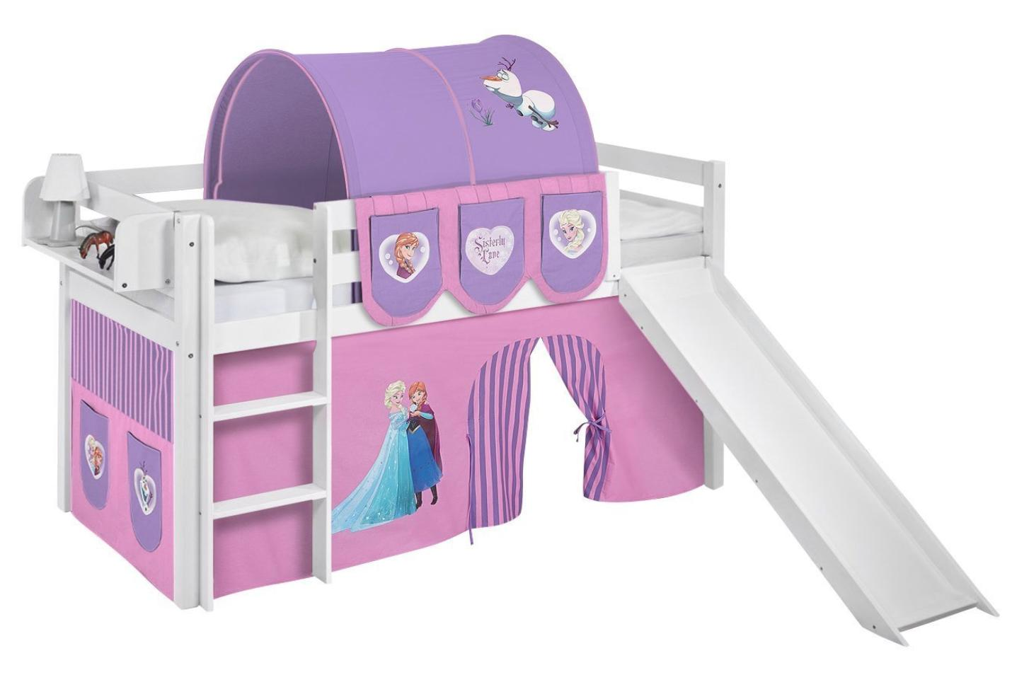 lit sur lev blanc princesses disney et toboggan 90x190 cm. Black Bedroom Furniture Sets. Home Design Ideas