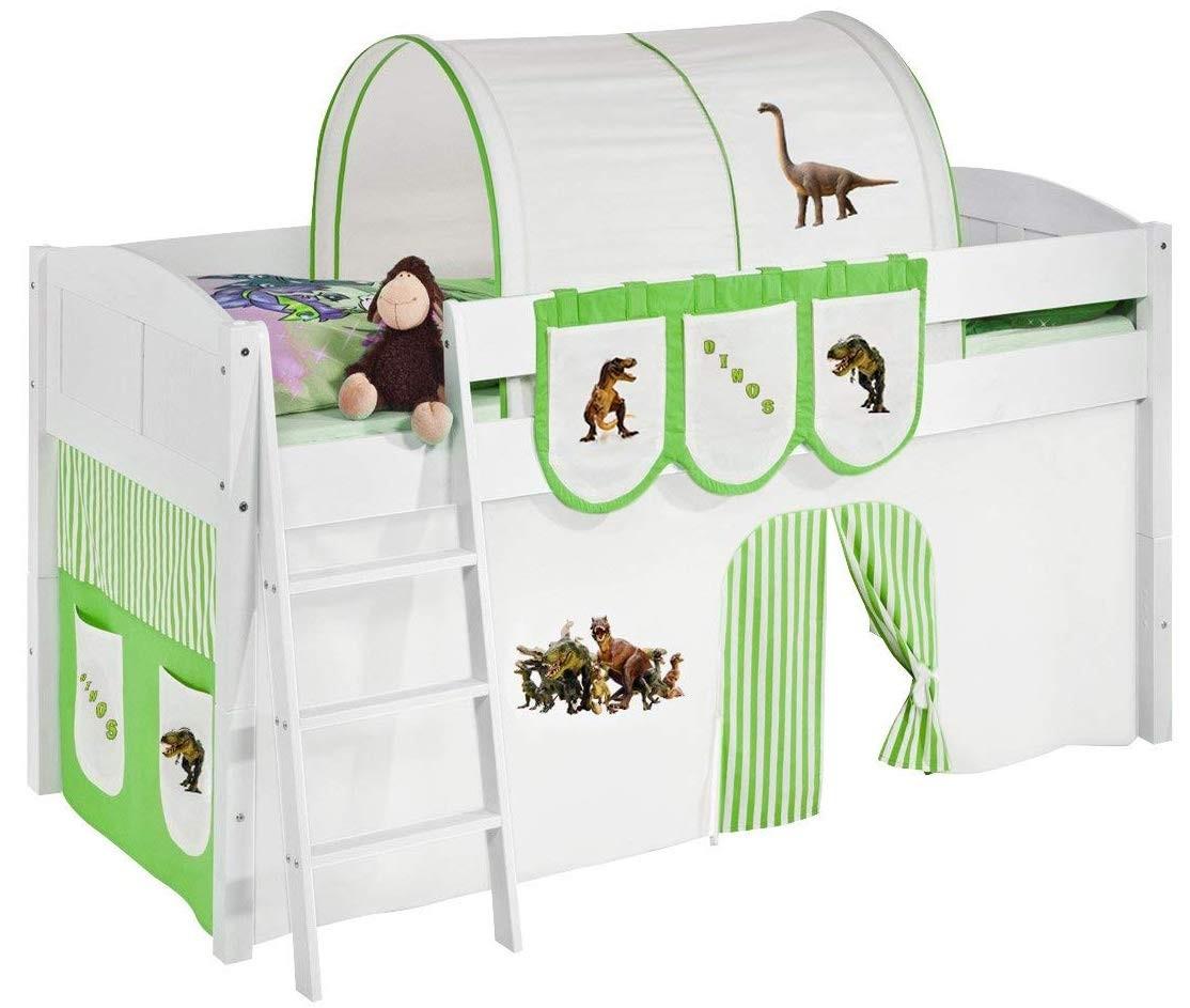 Lit sur lev blanc rideau beige et vert dinosaures 90x200cm sommier sans sommier sans matelas - Rideau pour lit sureleve ...