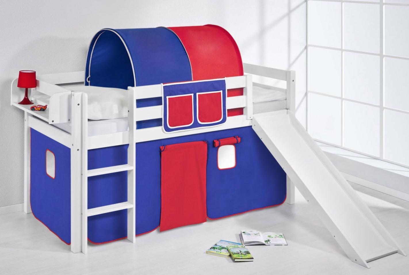 lit sur lev blanc rideau bleu rouge et toboggan 90x190 cm sommier sans sommier sans matelas. Black Bedroom Furniture Sets. Home Design Ideas