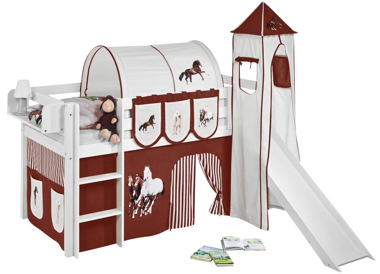 Lit sur lev toboggan blanc laqu avec tour et rideau beige et marron chevaux 90x190 cm - Tour de lit beige et marron ...