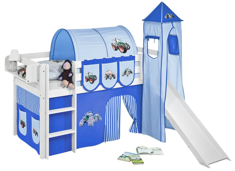 lit sur lev toboggan blanc laqu avec tour et rideau bleu tracteur 90x190 cm. Black Bedroom Furniture Sets. Home Design Ideas