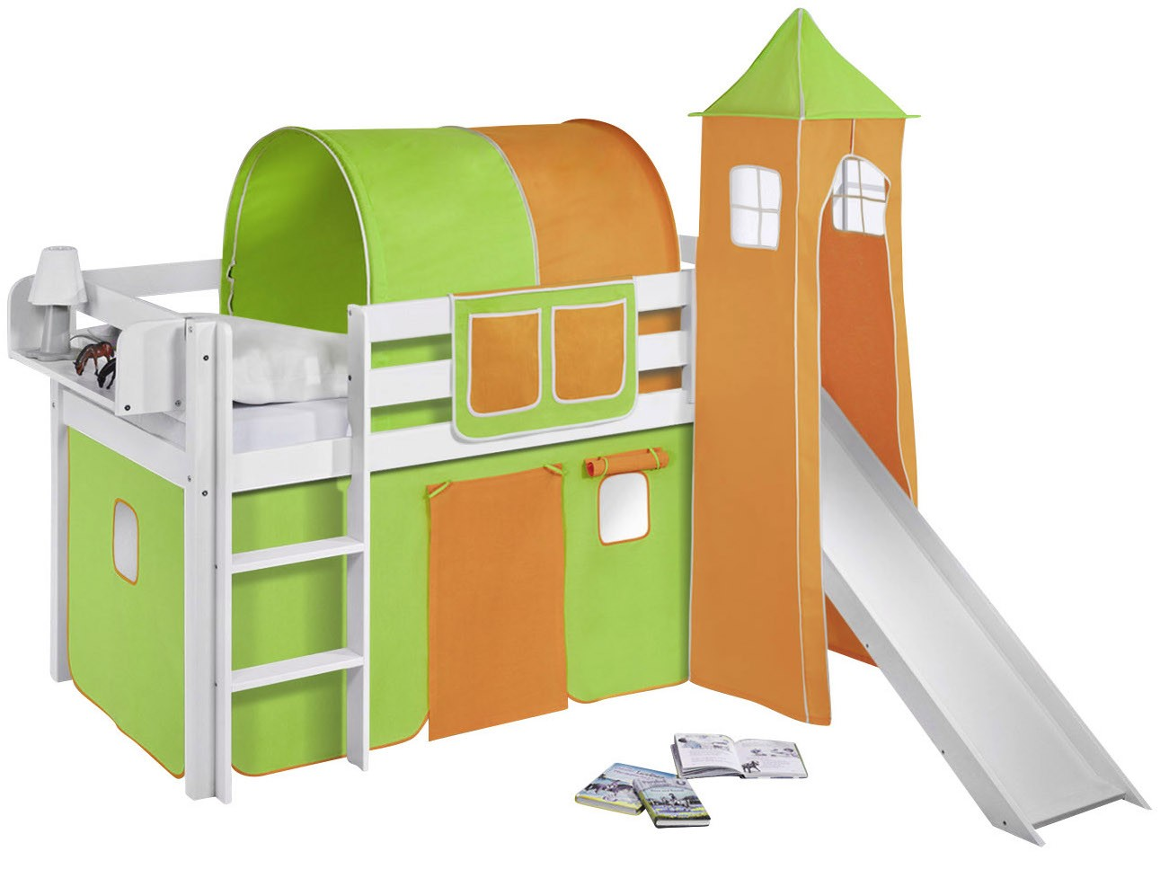 Lit surélevé toboggan blanc laqué avec tour et rideau vert et orange Milo  90x190 cm   LesTendances.fr 7e8ac623ff0f