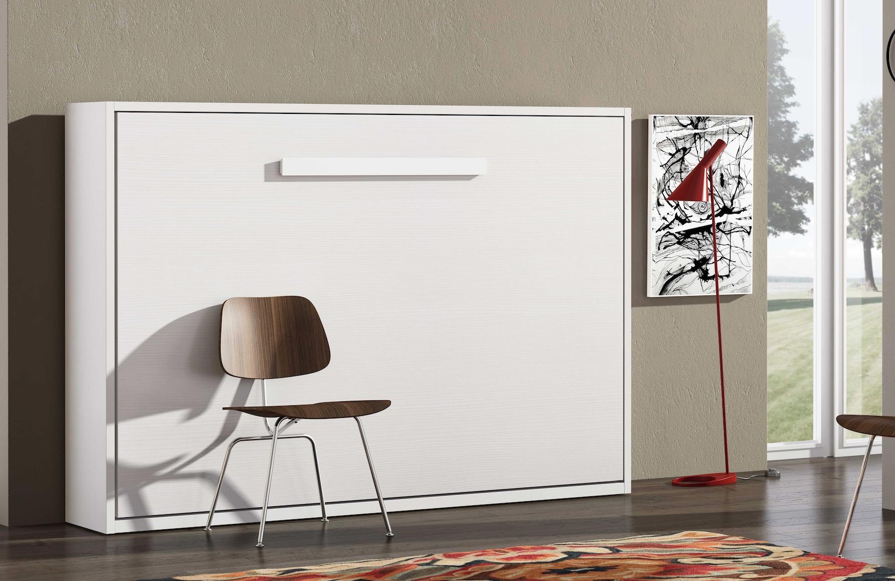 lit escamotable transversal optima 90 structure blanc facade ch nes 3d matelas mousse 18 cm. Black Bedroom Furniture Sets. Home Design Ideas