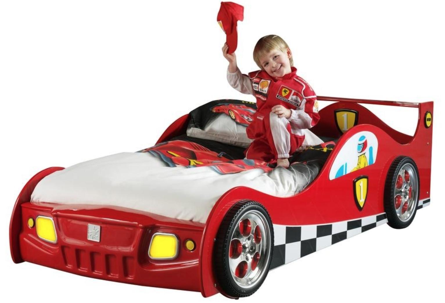 Lit voiture de course rouge turbo - Lit enfant voiture de course ...