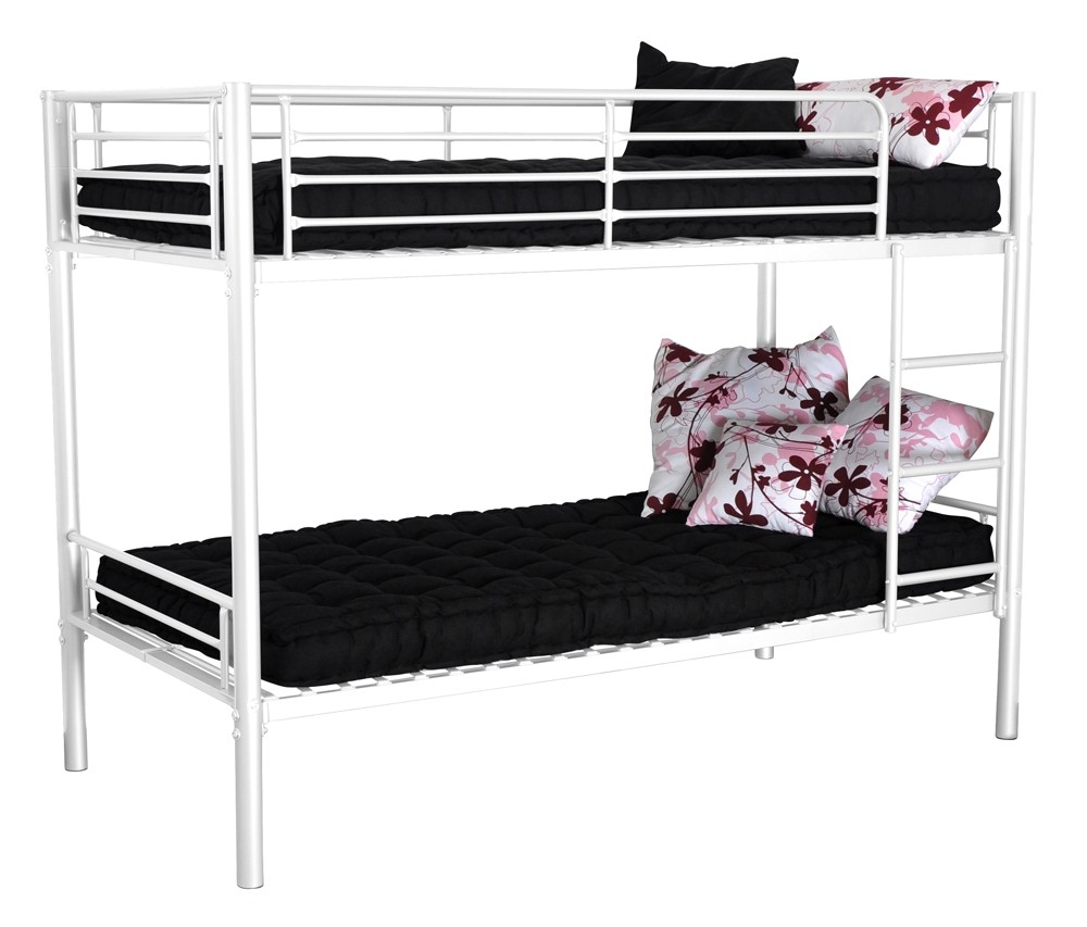 lits superpos s 90x190 m tal blanc twinny. Black Bedroom Furniture Sets. Home Design Ideas