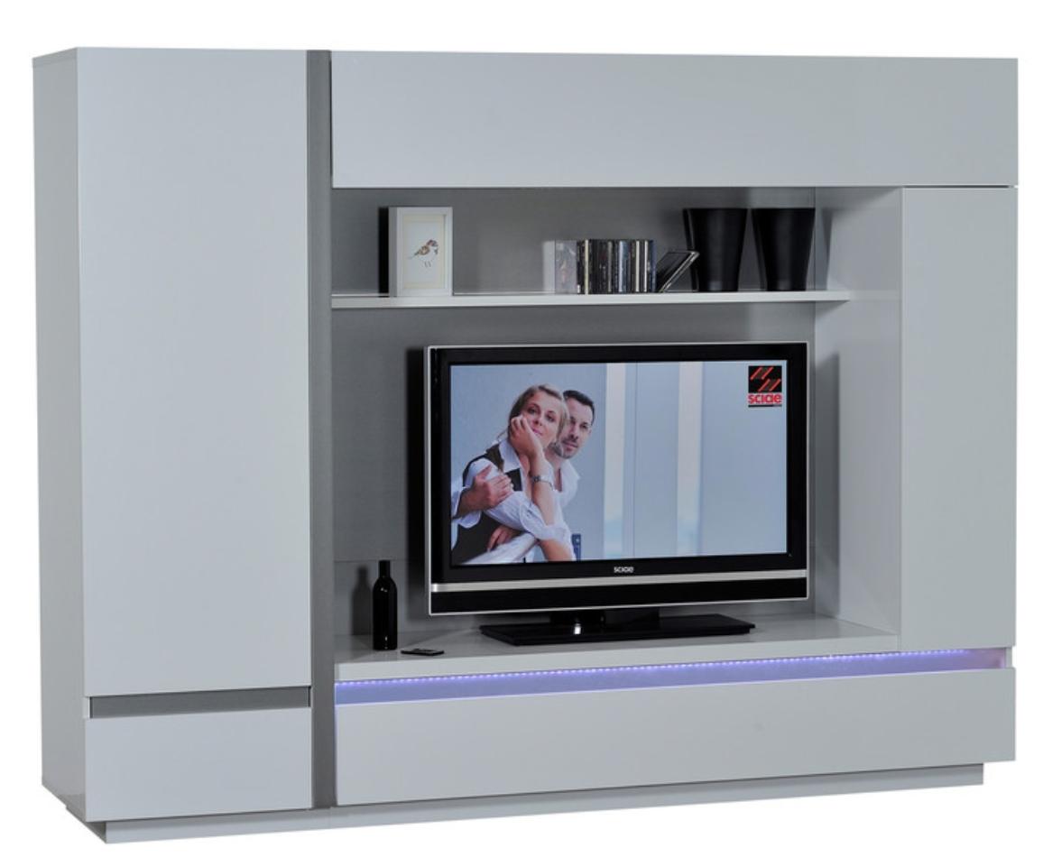 mur tv laqu blanc lumineux kartz. Black Bedroom Furniture Sets. Home Design Ideas