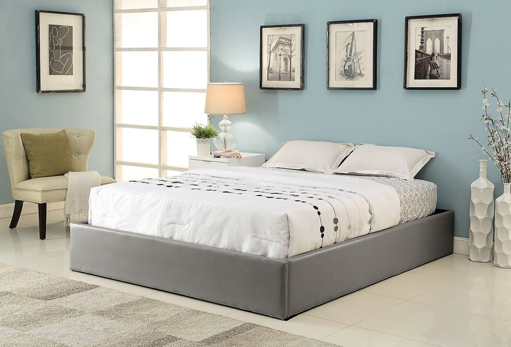 cadre de lit simili gris avec coffre 140 x 190 cm. Black Bedroom Furniture Sets. Home Design Ideas