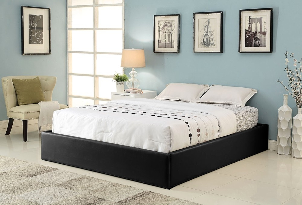 cadre de lit simili noir avec coffre 160 x 200 cm. Black Bedroom Furniture Sets. Home Design Ideas