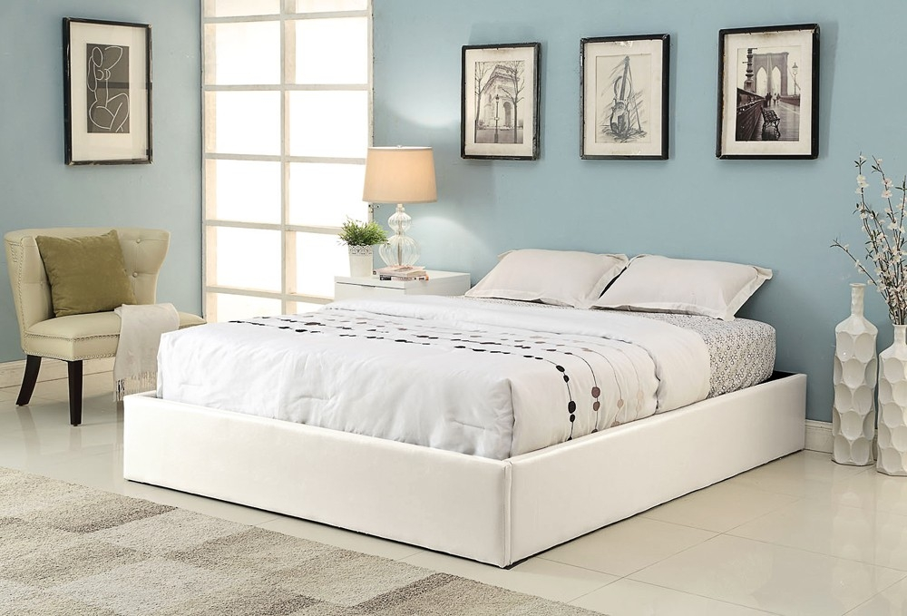 cadre de lit simili blanc avec coffre 180 x 200 cm. Black Bedroom Furniture Sets. Home Design Ideas