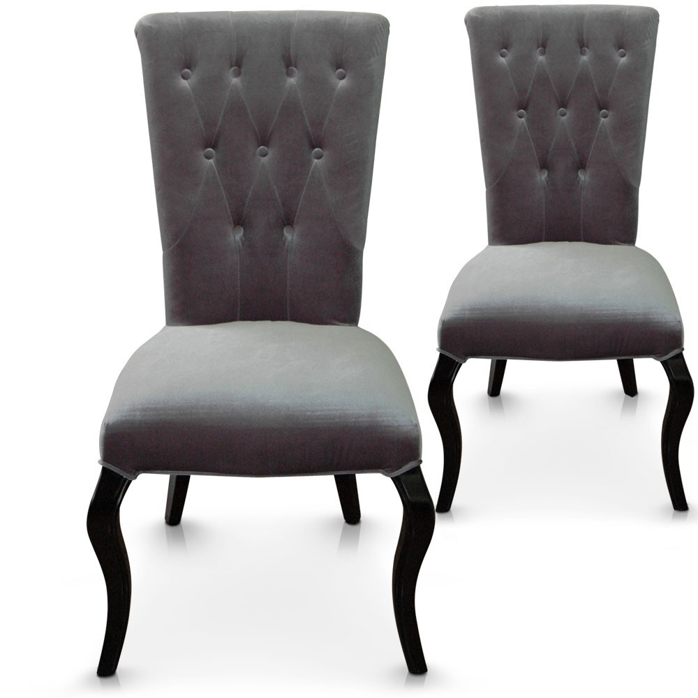 chaise capitonn e velours gris barocco lot de 2. Black Bedroom Furniture Sets. Home Design Ideas