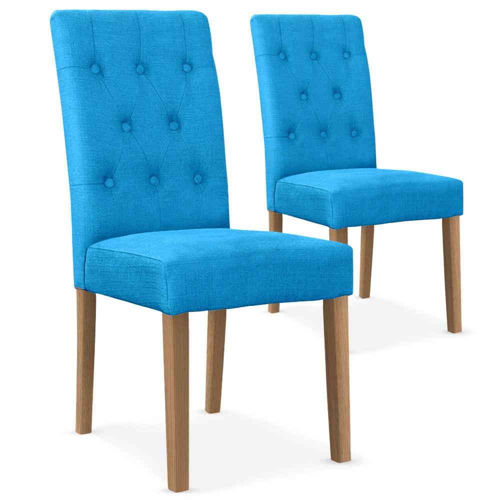 chaises tissu bleu c cilia lot de 2. Black Bedroom Furniture Sets. Home Design Ideas