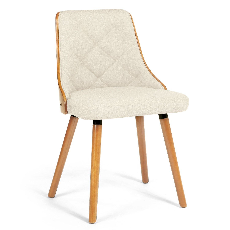 chaise bois naturel et assise tissu beige pako lot de 2. Black Bedroom Furniture Sets. Home Design Ideas