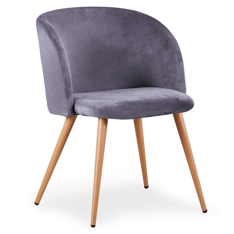 chaise moderne avec accoudoir velours gris snolu lot de 2. Black Bedroom Furniture Sets. Home Design Ideas