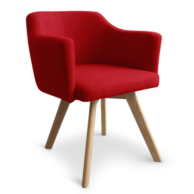 fauteuil scandinave tissu rouge kanty lot de 2. Black Bedroom Furniture Sets. Home Design Ideas