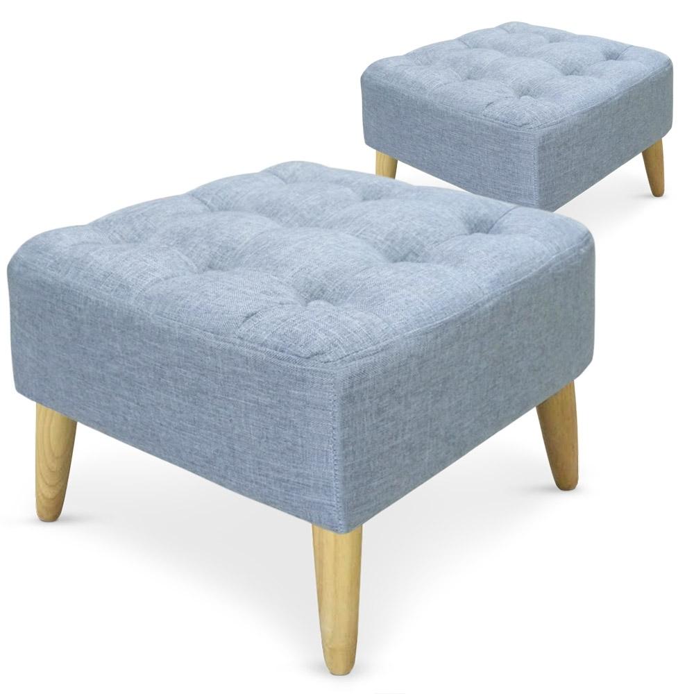 pouf carr capitonn tissu bleu loupi. Black Bedroom Furniture Sets. Home Design Ideas
