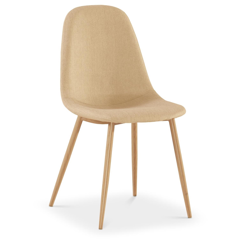 chaise scandinave tissu beige glas lot de 4 lestendancesfr - Chaise Scandinave Beige
