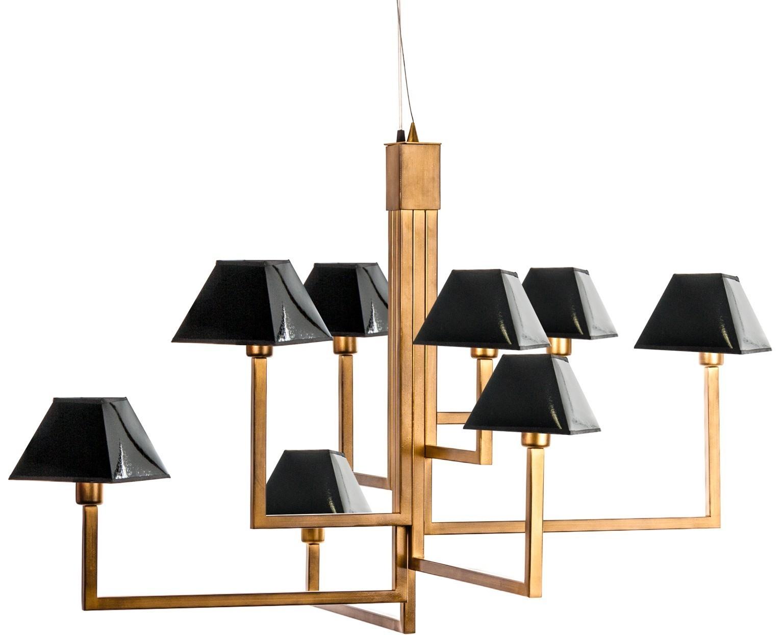 lustre art d co m tal dor et cuir noir verniss veli. Black Bedroom Furniture Sets. Home Design Ideas