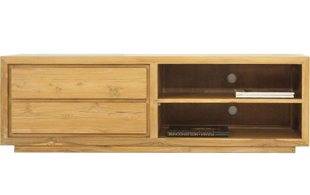 meuble tv 2 tiroirs 2 portes teck massif zen. Black Bedroom Furniture Sets. Home Design Ideas