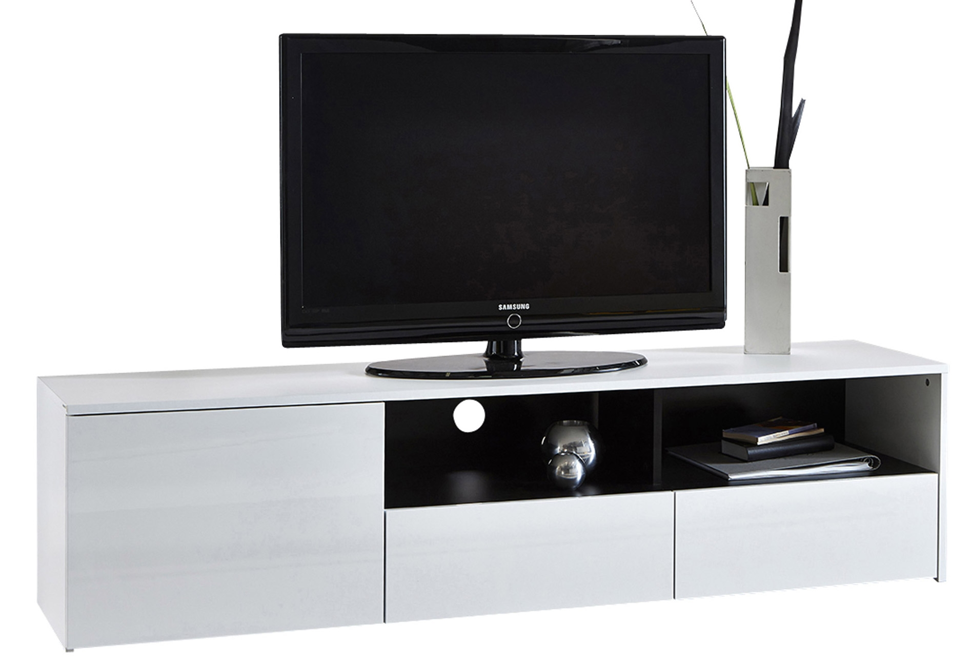 Banc TV Blanc brillant Citia  LesTendancesfr -> Banc Tv Blanc