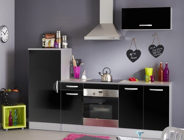 ensemble de cuisine noir laqu bea. Black Bedroom Furniture Sets. Home Design Ideas
