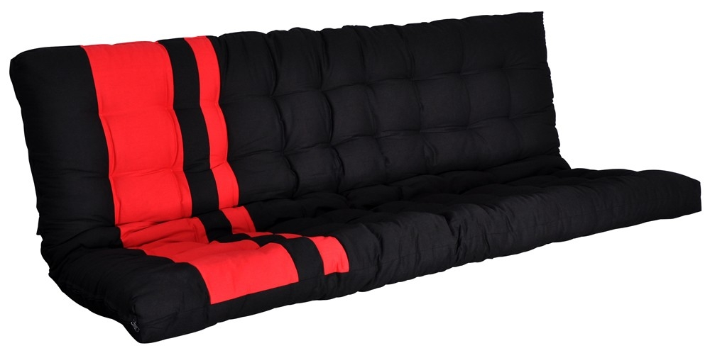matelas futon banquette rouge et noir zino. Black Bedroom Furniture Sets. Home Design Ideas