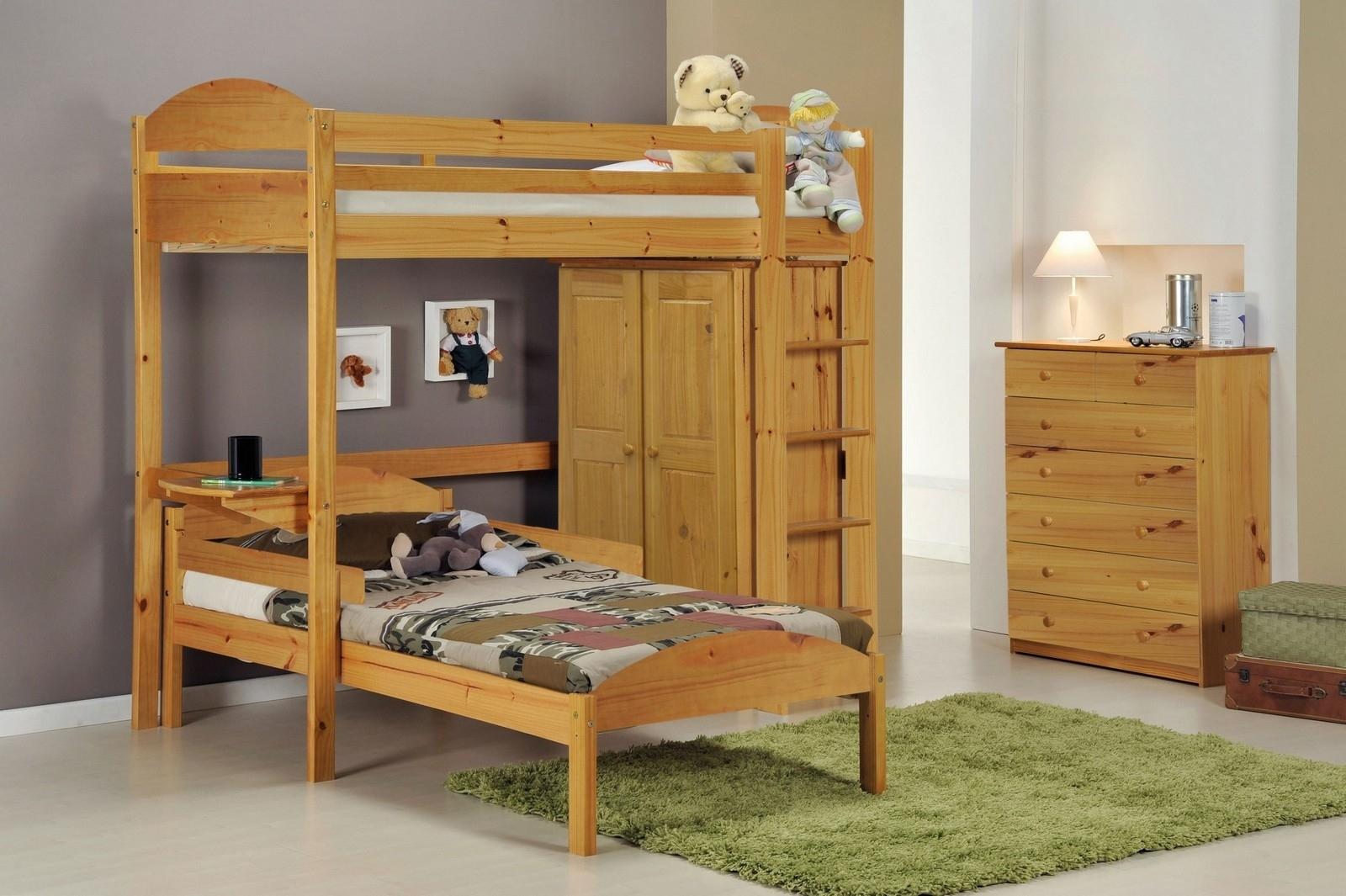 ensemble lit mezzanine en l placard commode pin miel aladin. Black Bedroom Furniture Sets. Home Design Ideas