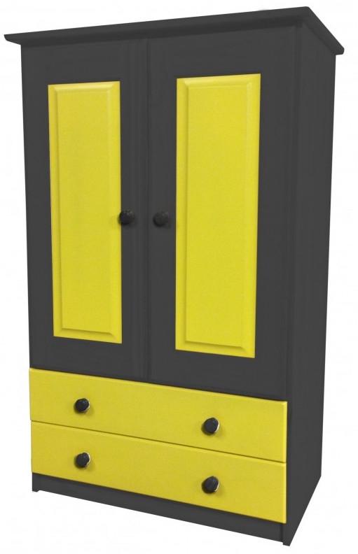 armoire 2 portes 2 tiroirs pin gris et jaune aladin. Black Bedroom Furniture Sets. Home Design Ideas