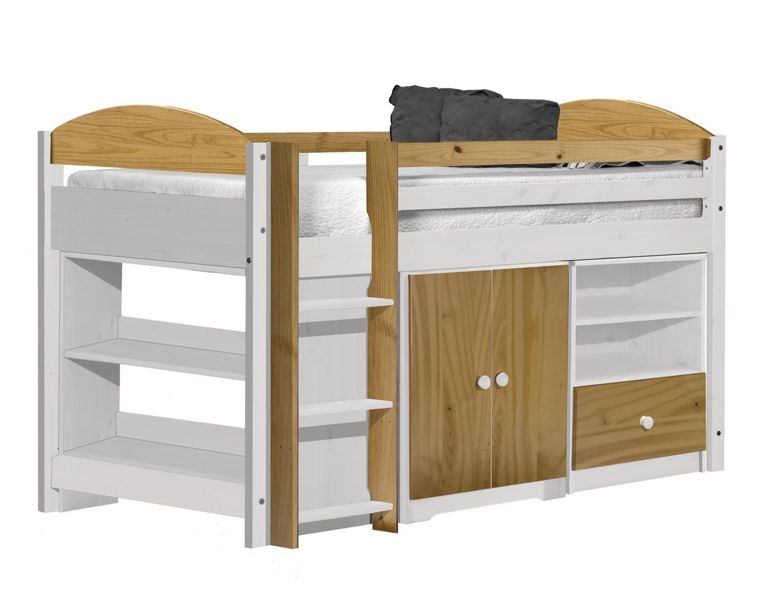 lit combin mi haut bois blanc et naturel aladin. Black Bedroom Furniture Sets. Home Design Ideas