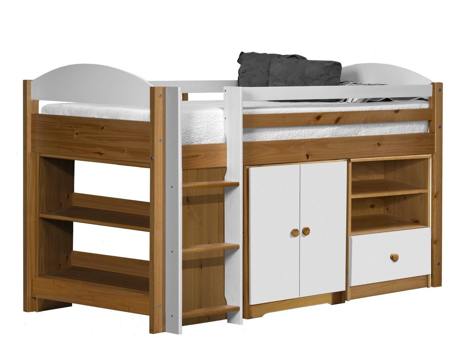 lit combin mi haut bois et blanc aladin. Black Bedroom Furniture Sets. Home Design Ideas