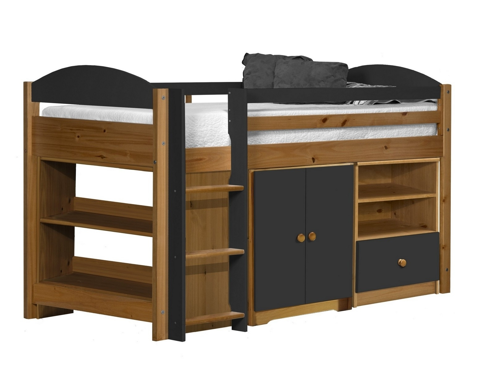 lit combin mi haut bois et graphite aladin. Black Bedroom Furniture Sets. Home Design Ideas