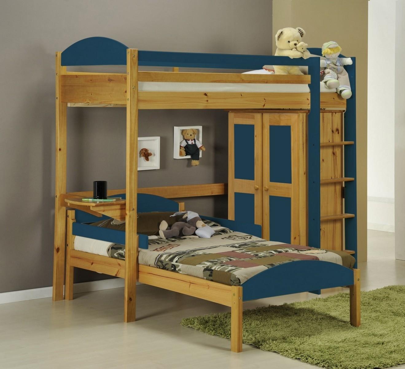 Lit mezzanine en l et placard tal boy pin miel et bleu aladin - Lit mezzanine avec placard ...