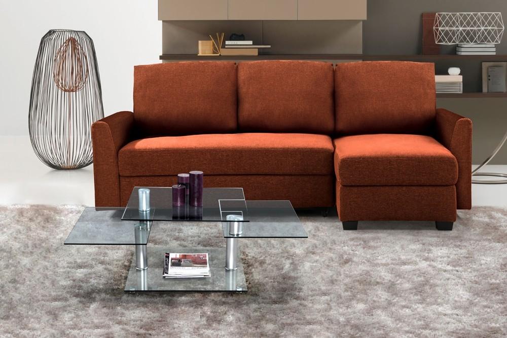 canap d 39 angle convertible tissu orange. Black Bedroom Furniture Sets. Home Design Ideas