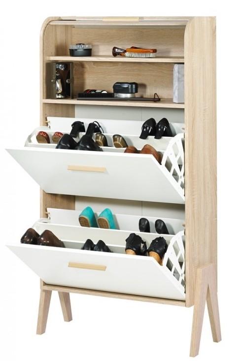 meuble chaussures rideau blanc pieds naturel. Black Bedroom Furniture Sets. Home Design Ideas