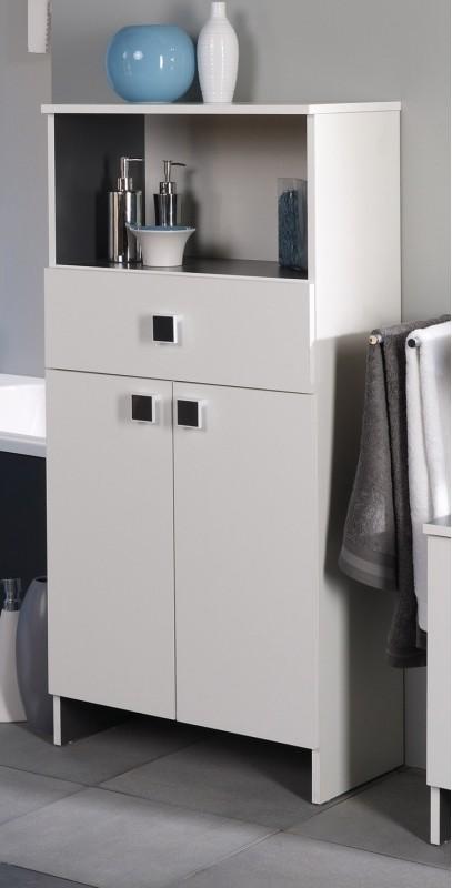 meuble bas 2 portes 1 tiroir 1 niche blanc zina. Black Bedroom Furniture Sets. Home Design Ideas