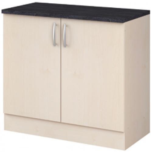 meuble bas 2 portes paprika erable 120 cm - lestendances.fr - Element Bas De Cuisine Avec Plan De Travail