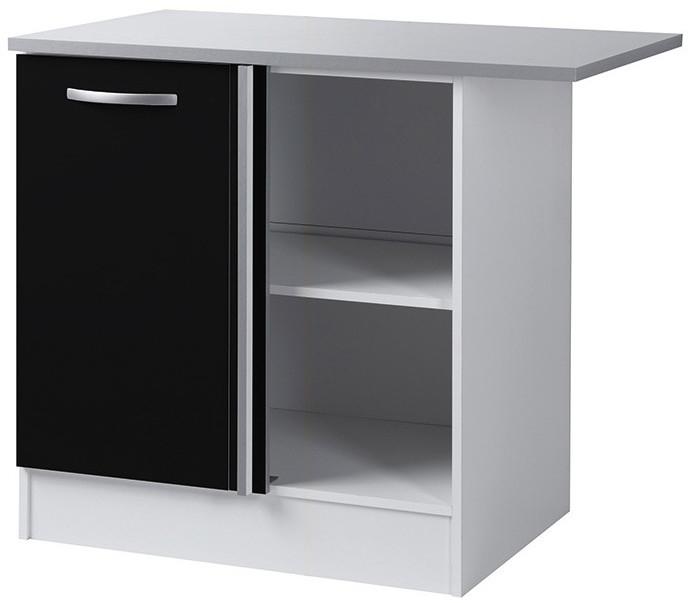Meuble bas d 39 angle noir 100 cm viva for Meuble bas cuisine noir