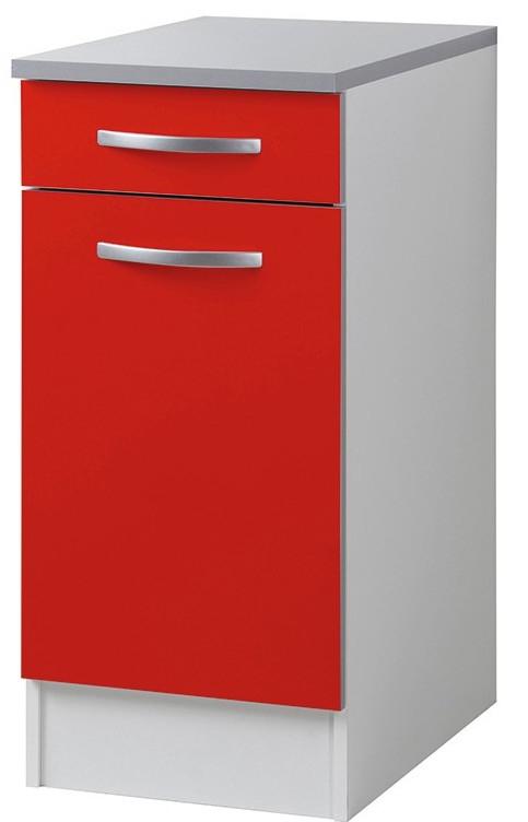 Meuble bas de cuisine 1 porte 1 tiroir rouge viva 40 cm - Tiroir cuisine 30 cm ...
