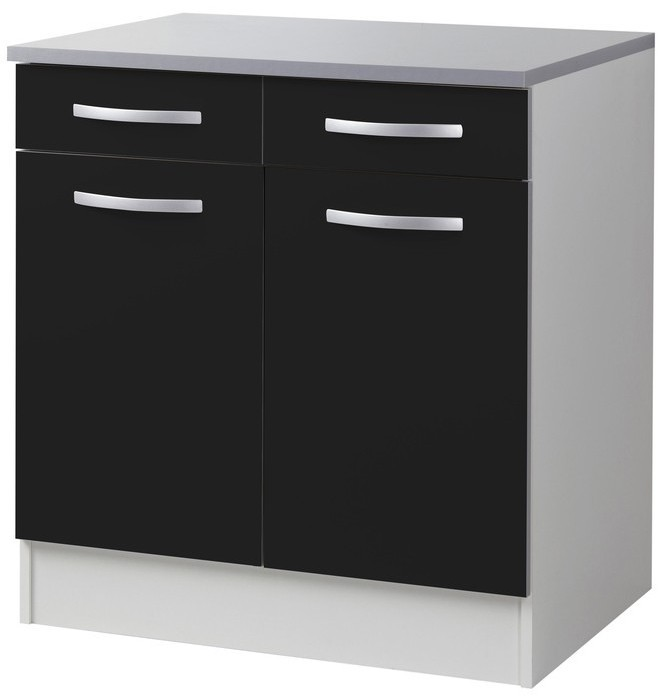 meuble bas de cuisine 2 portes 2 tiroirs noir viva 80 cm. Black Bedroom Furniture Sets. Home Design Ideas