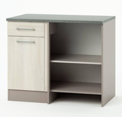 Meuble de cuisine bas angle 1 porte 1 tiroir chef for Meuble angle tiroir
