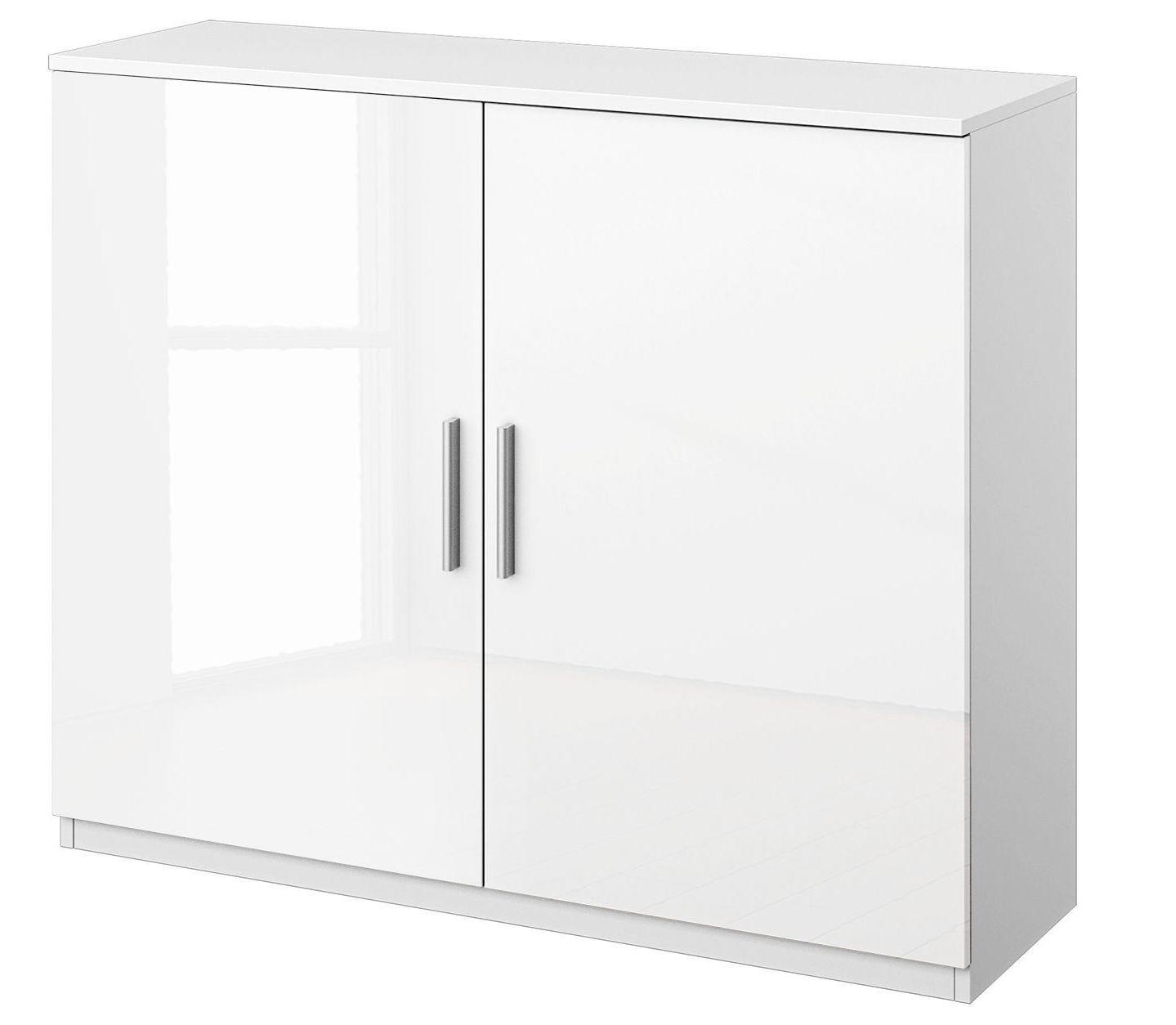 Meuble de rangement 2 portes blanc brillant bello - Meuble de rangement 2 portes coulissantes ...