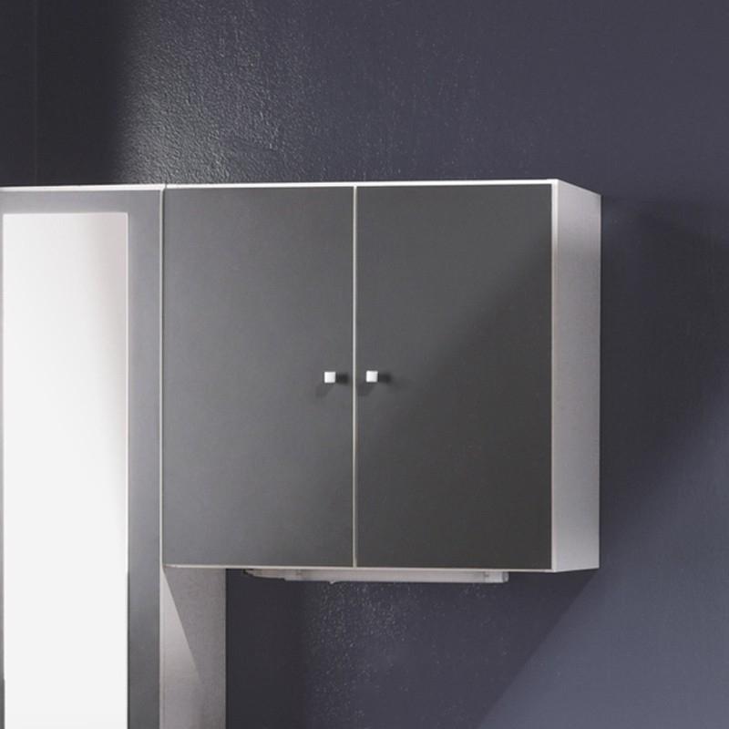 Meuble haut 2 portes gris flash for Meuble haut salle de bain gris