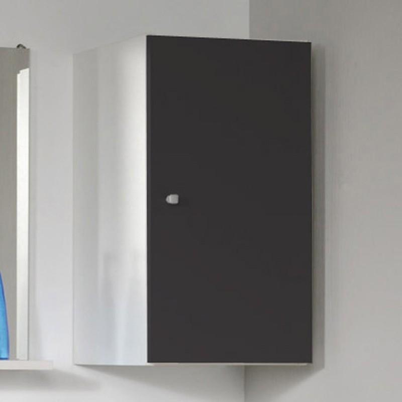 Meuble haut mural 1 porte gris anthracite fiona for Meuble haut salle de bain gris