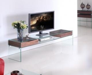 Meuble t l en verre et bois verwood for Meuble tv bois et verre