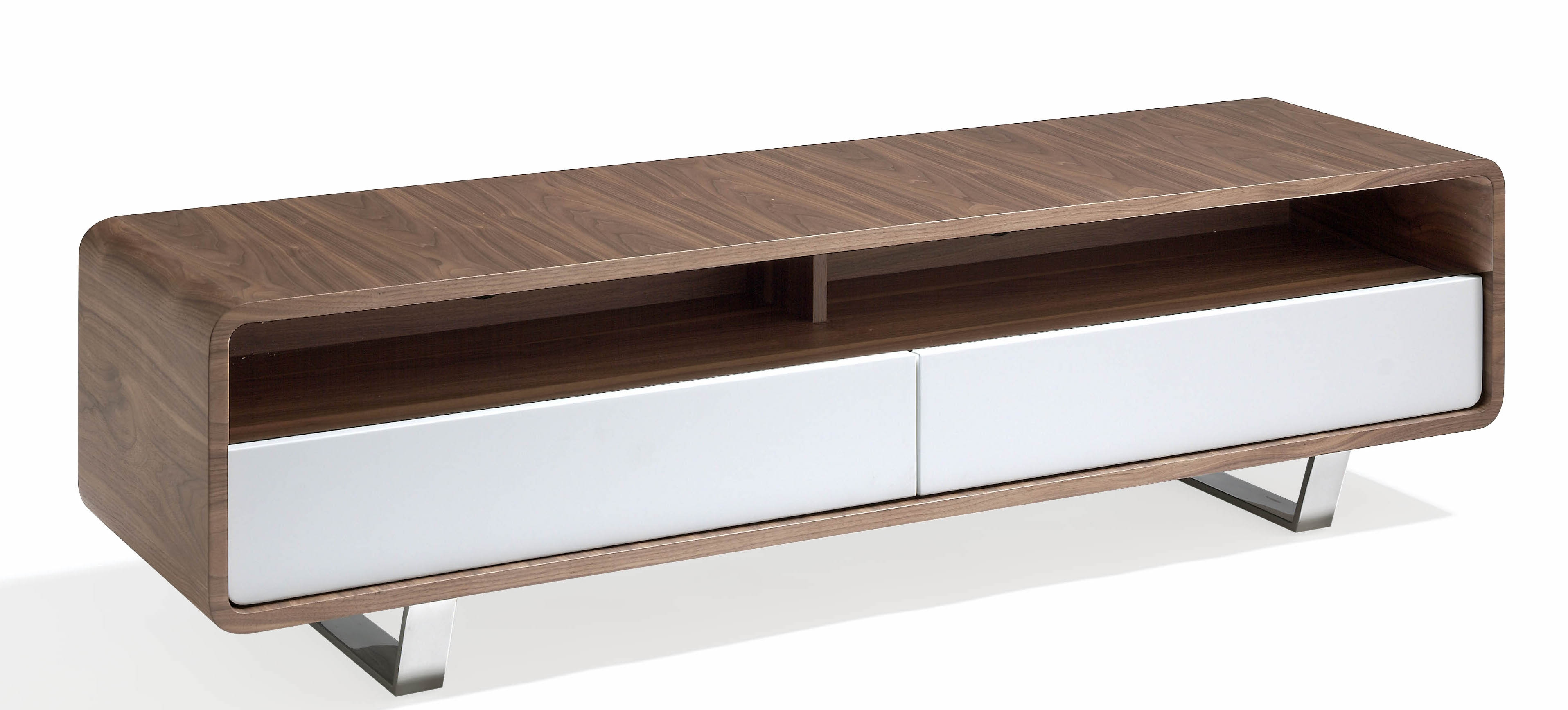 meuble tv 2 tiroirs bois noyer et laqu hena couleur blanc. Black Bedroom Furniture Sets. Home Design Ideas