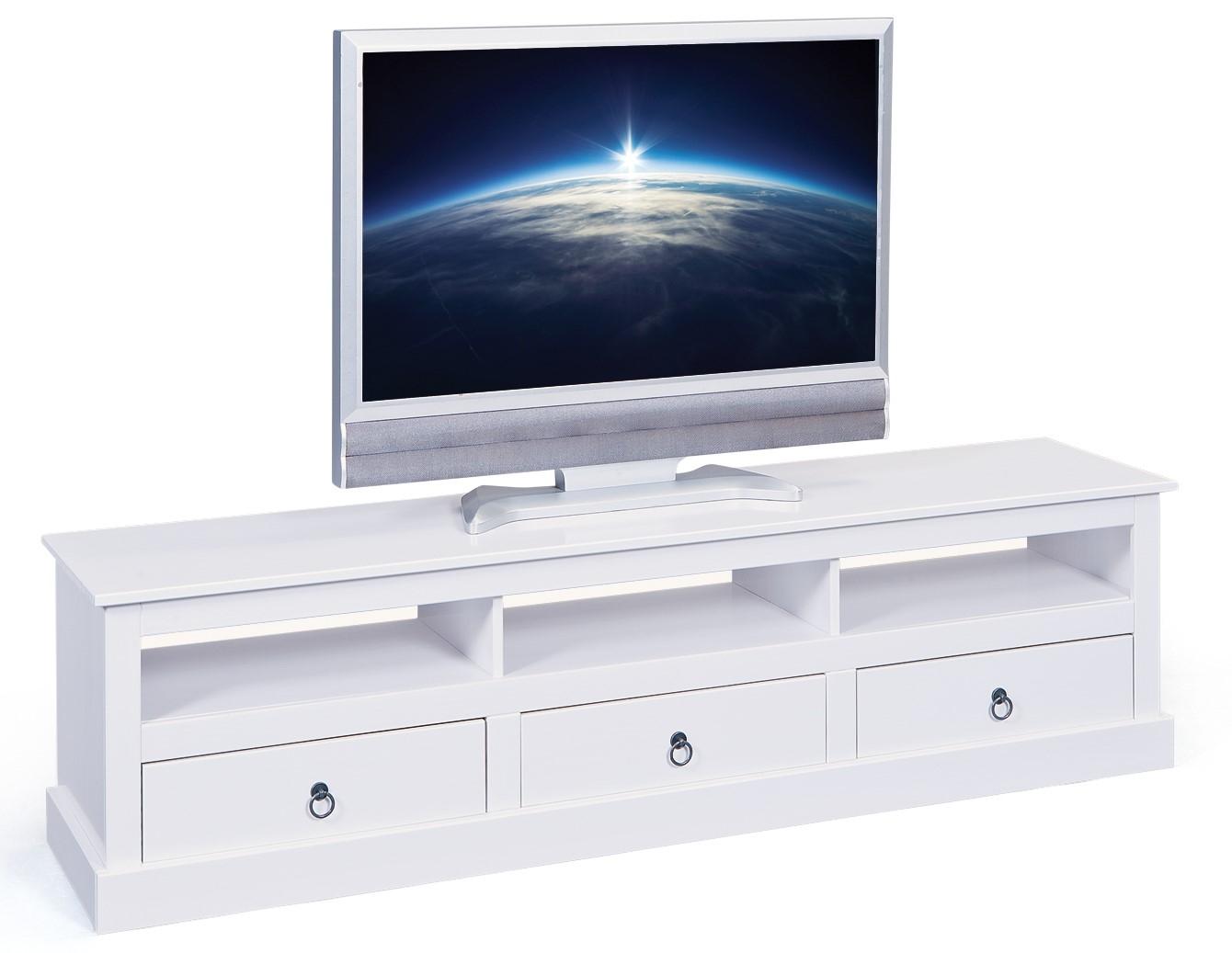 meuble tv 3 tiroirs en pin massif blanc prince. Black Bedroom Furniture Sets. Home Design Ideas