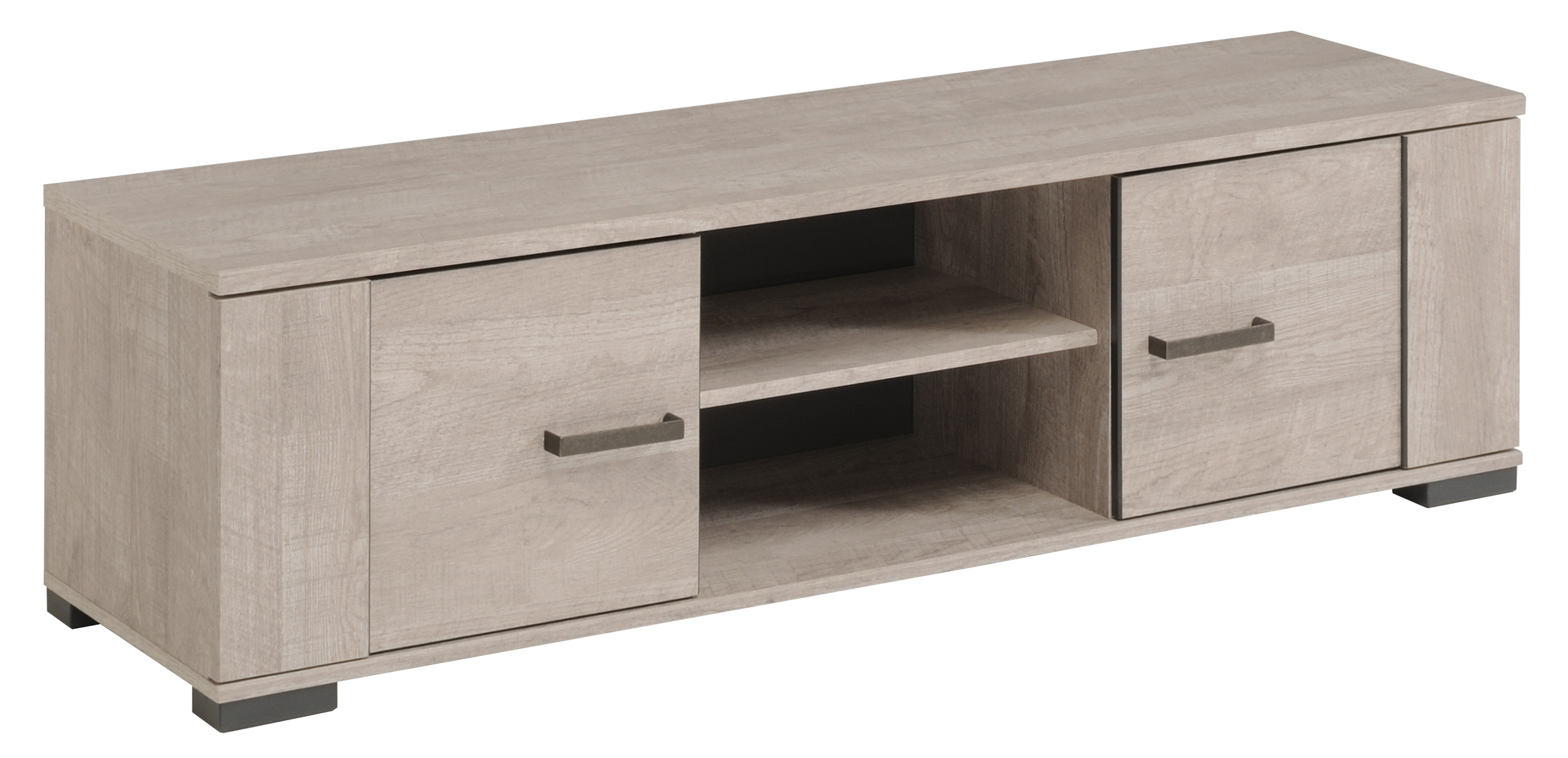 Meuble Tv Bas 2 Portes 2 Niches Gris Loft Et Gris Ombre Harvey  # Meuble Tv Motorise