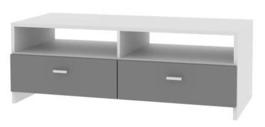 meuble tv blanc et gris basic. Black Bedroom Furniture Sets. Home Design Ideas