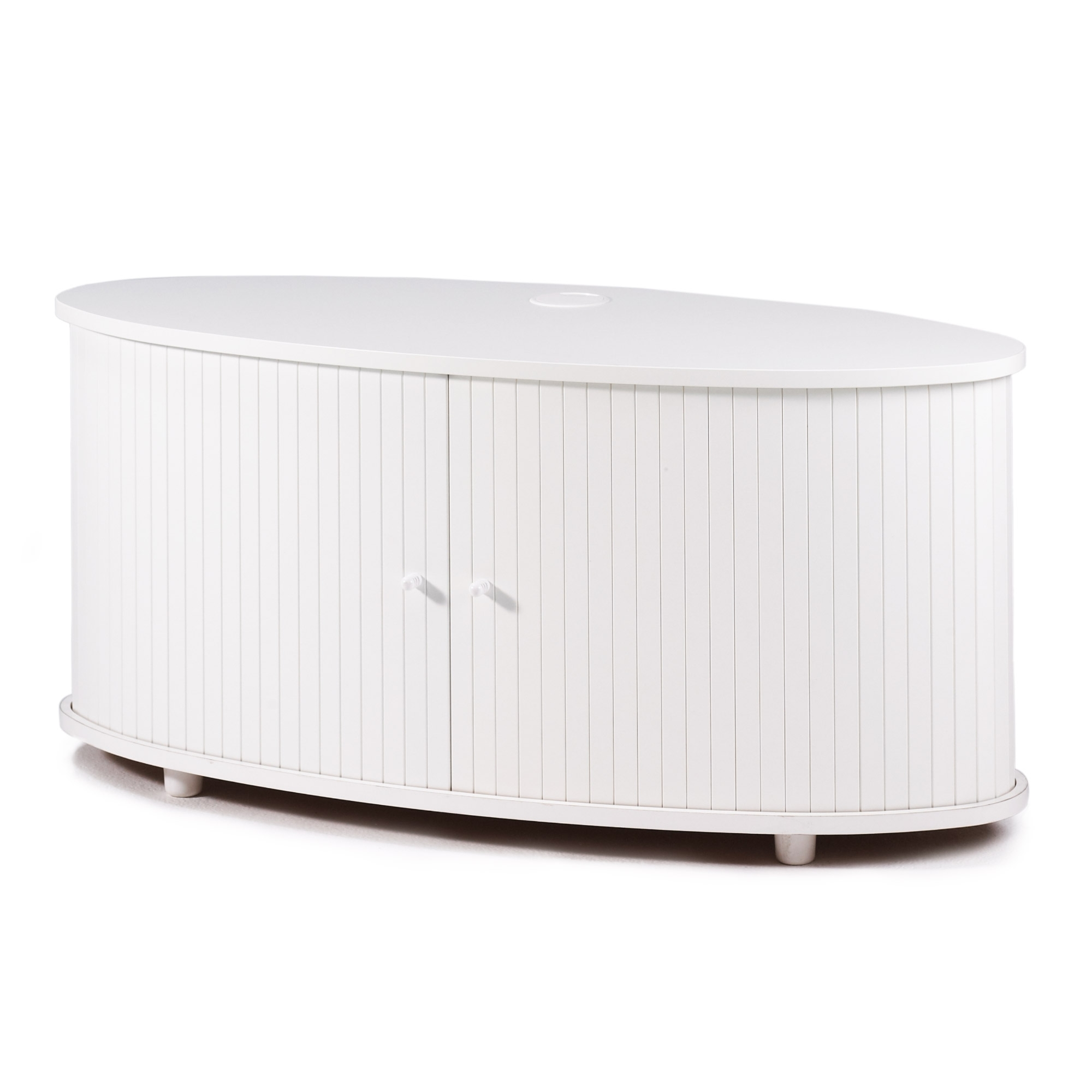 Meuble tv rideaux coulissant blanc desky for Meuble tv coulissant