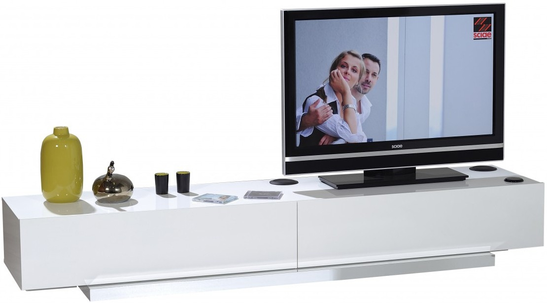 banc tv blanc laqu moderne sona. Black Bedroom Furniture Sets. Home Design Ideas
