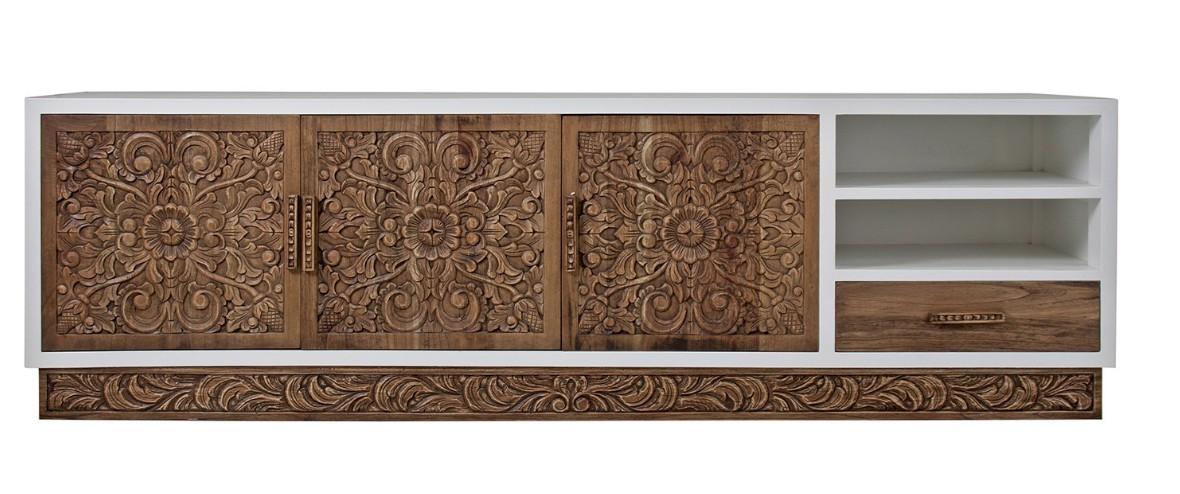 meuble tv bois massif de mindy naturel et blanc brillant lina. Black Bedroom Furniture Sets. Home Design Ideas